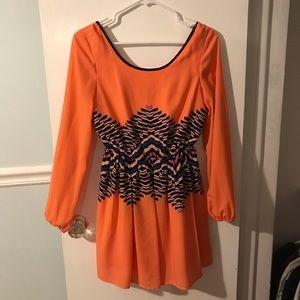 V back, long sleeve, bright and fun dress!